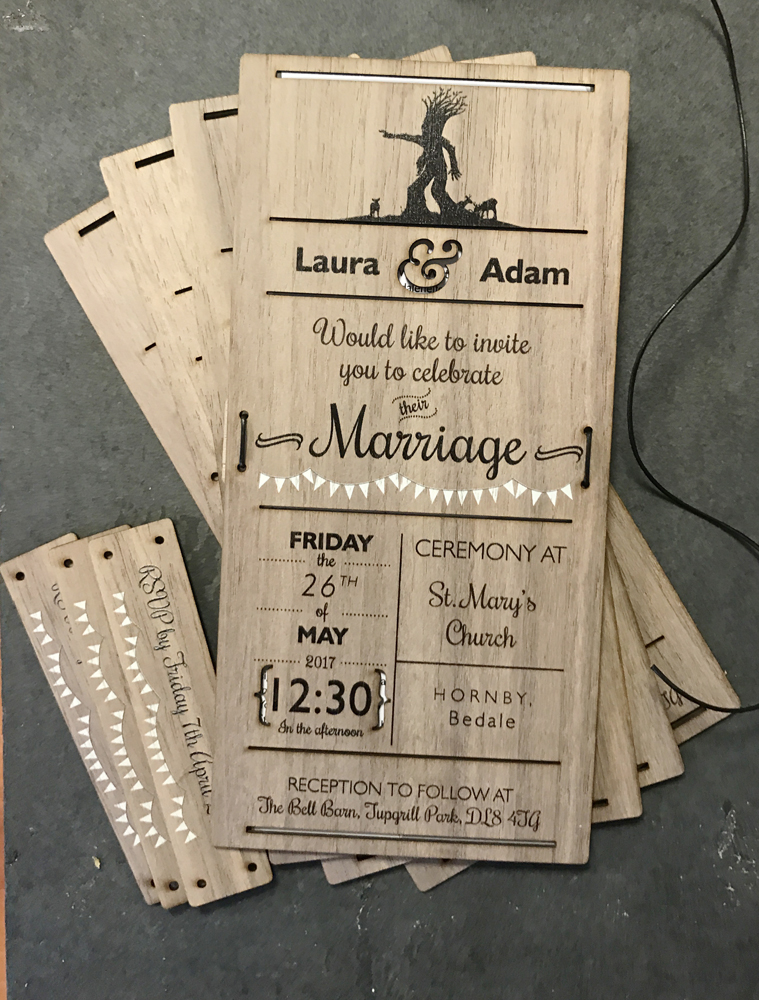 Wood veneer wedding invites printed