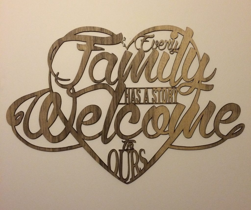 Every family has a story welcome to ours wall sign