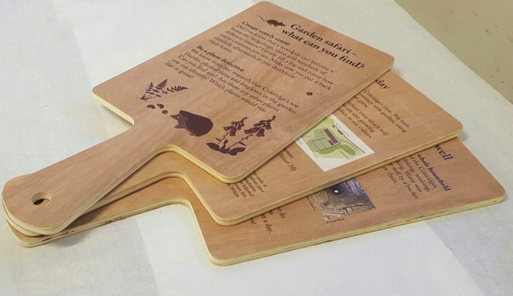 Wooden garden information paddle national trust