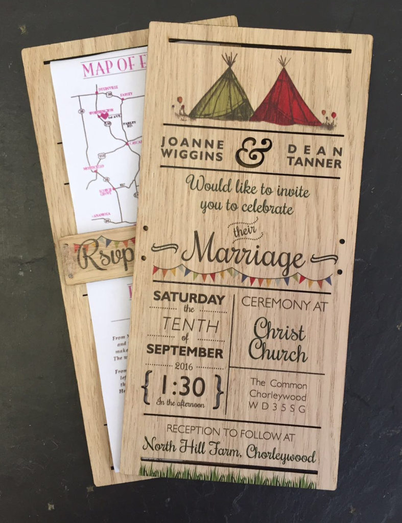 Wooden wedding invitations with paper backing