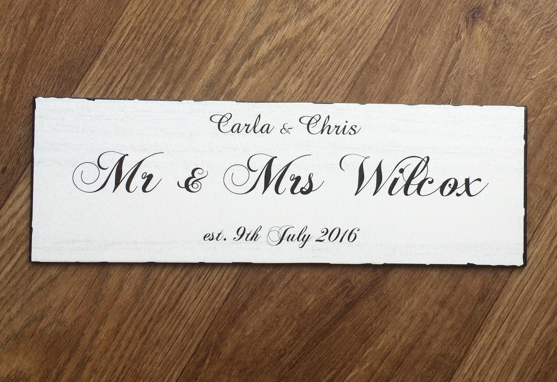 Mr and Mrs established sign
