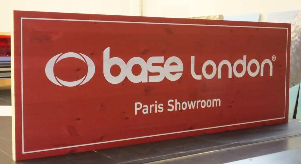 Base London Paris showroom wooden sign printed on solid pine