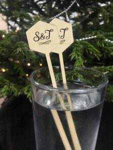 Wedding cocktail sticks made from wood