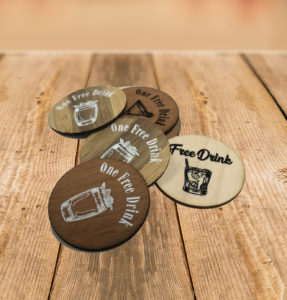 Printed wooden drinks tokens