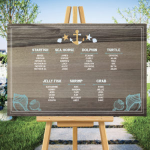 Wooden Wedding seating plan with sea theme