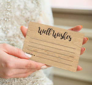 Wooden postcards for wedding well wishes