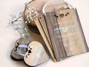 Wooden Wedding invitations and Save the dates. Printing onto Black Frake