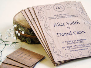 Printed Wooden wedding invites on cherry