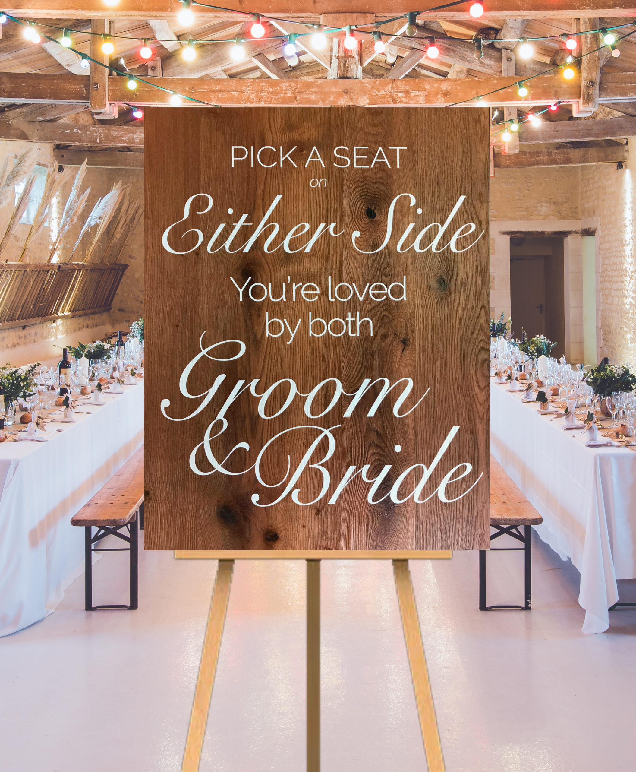 Pick a seat on either side wooden wedding sign
