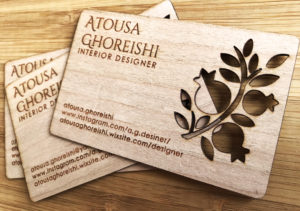 Atousa ghoreishi business cards made from wood