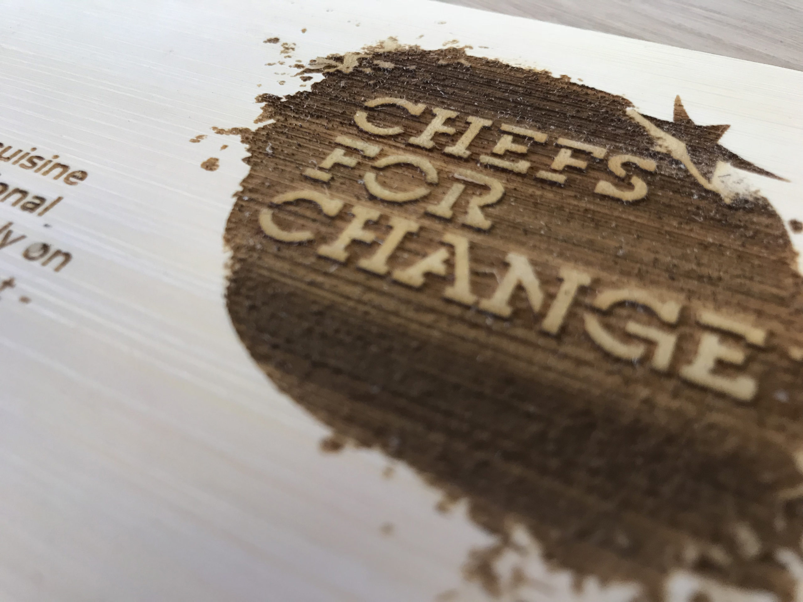 Bamboo postcards engraved chefs for change