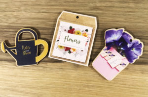 Colour printed flower tags made from wood