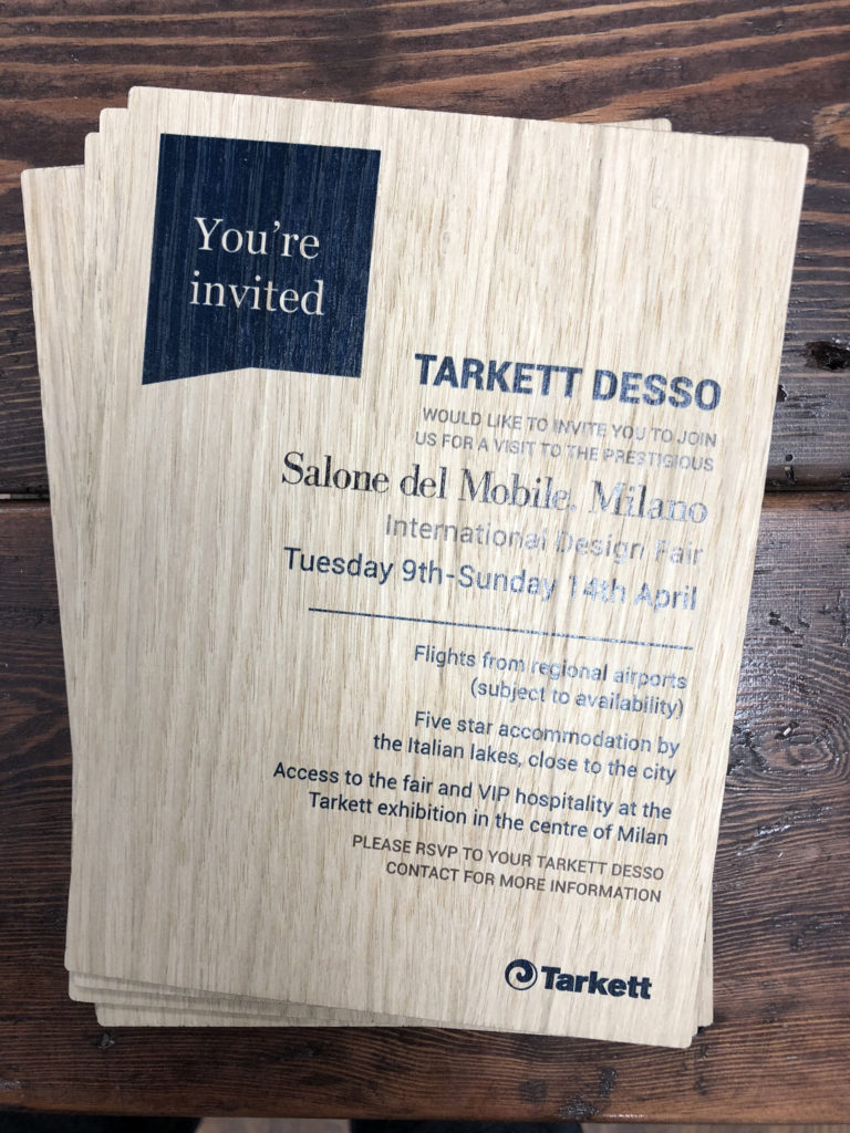 Corporate wooden invite
