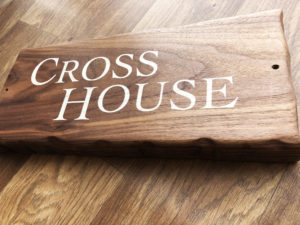 Cross House sign solid Walnut printed