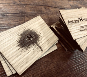 Engraved logo onto wooden business cards