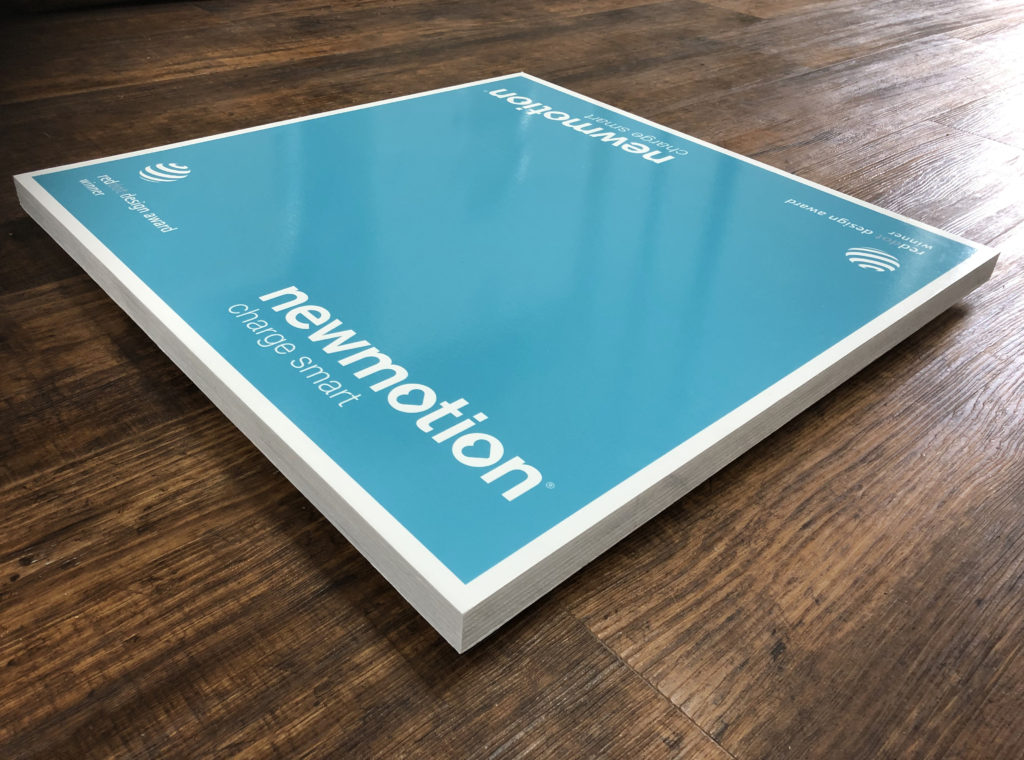 New motion stand printed on wood with gloss varnish