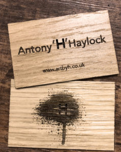 Oak business card engraved