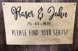 Please find your seat wooden sign
