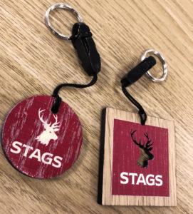 Stags printed wooden keyrings