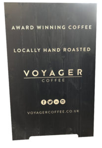 Voyager Coffee custom a-board