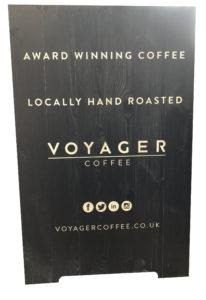 Voyager Coffee custom a-board