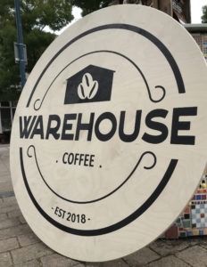 warehosue coffee printed wooden sign