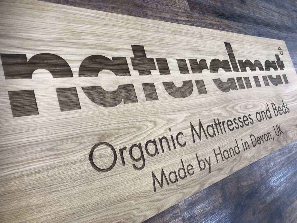 Naturalmat sign solid oak engraved