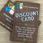 Discount card on walnut wood printed