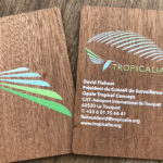 Mahogany printed wooden business cards colour