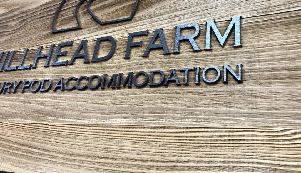 Cedar wood engraved and printed sign
