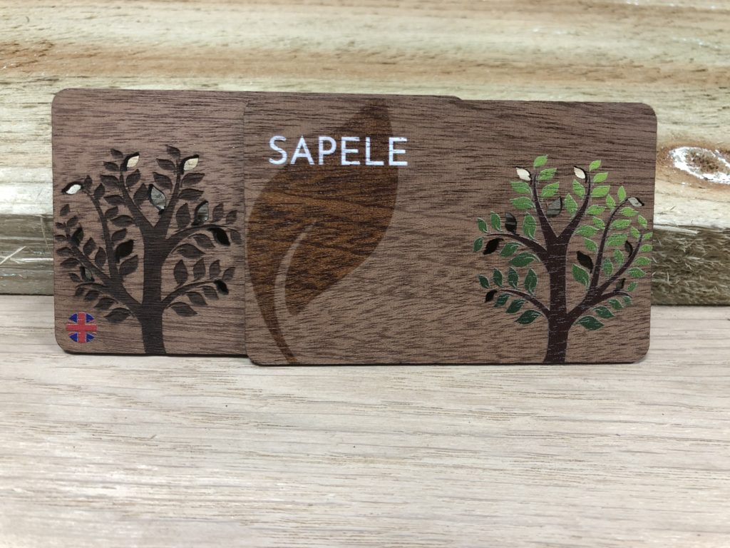 Printed Wooden Sapele business cards