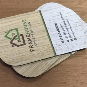 printed Framehouse wooden business cards on oak wood