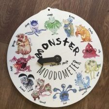 Printed wooden monster mood clock