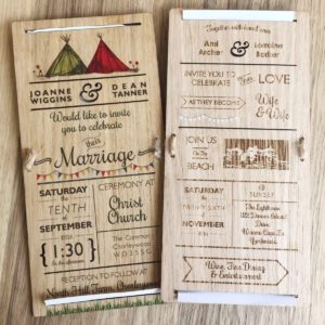 Wooden printed wedding invites