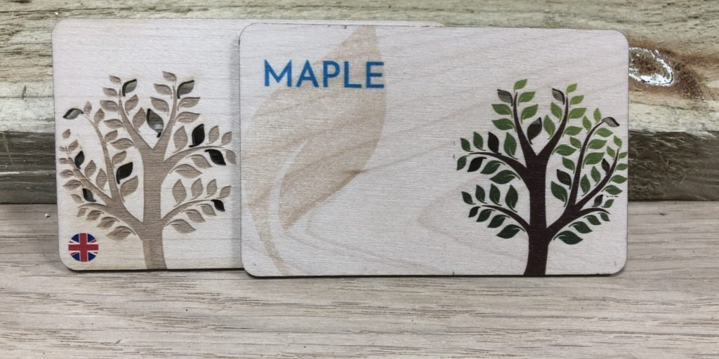 Printed Maple wooden business cards