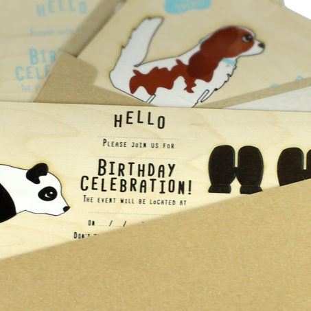 Birthday invitations with panda bear cat and dog